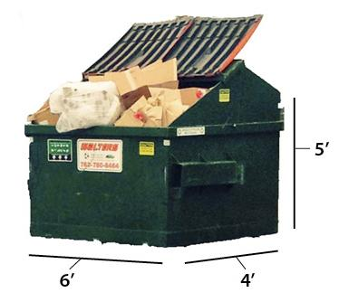 Dumpster Measuring 6 Feet by 4 Feet by 5 Feet